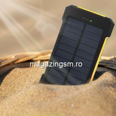 Acumulator Extern iPhone Samsung Huawei Allview Dual USB Power Bank 10000mAh Cu Incarcare Energie Solara Galben