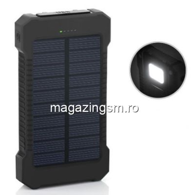 Acumulator Extern iPhone Samsung Huawei Allview Dual USB Power Bank 10000mAh Cu Incarcare Energie Solara Negru