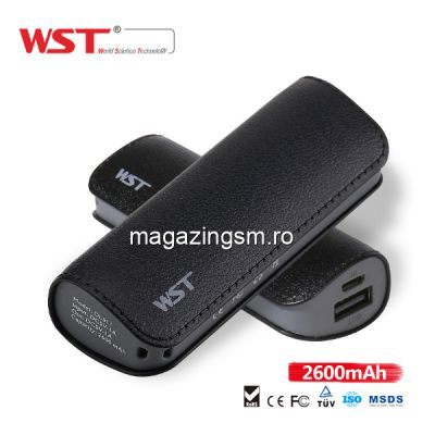 Acumulator Extern Samsung iPhone HTC Nokia LG Huawei Allview Power Bank 2600mAh WST Negru
