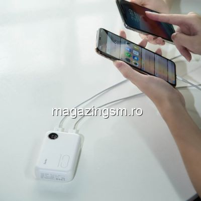 Acumulator Extern Sony Huawei Samsung iPhone Nokia Dual USB Power Bank 10000mAh Alb