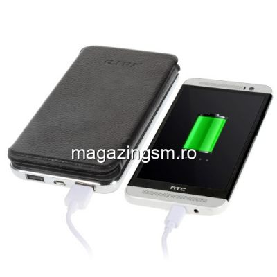 Acumulator Extern Sony Samsung Huawei Universal Dual USB Power Bank 10000mAh Cu Incarcare Energie Solara Si Husa Flip Negru