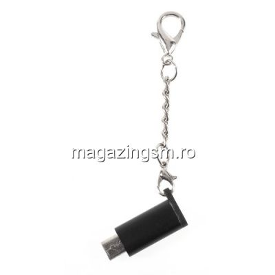 Adaptor Micro USB - Type C Samsung HTC LG Huawei Universal Tip Breloc Negru