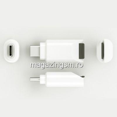 Adaptor Portabil Cititor Card MicroSD Type C Alb