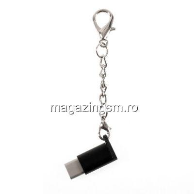 Adaptor Type C - Micro USB Samsung HTC LG Huawei Universal Tip Breloc Negru
