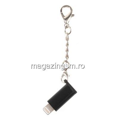 Adaptor USB Lightning 8 Pin - Type C iPhone Samsung HTC LG Huawei Universal Tip Breloc Negru