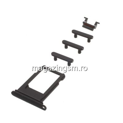 Butoane Volum, Mute Si Power On/Off iPhone 7 Originale Negru Lucios
