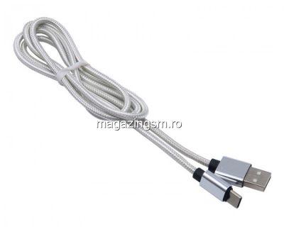 Cablu Date Si Incarcare iPhone 5 5c 5s 6 6 Plus 6s 6s Plus 7 7 Plus 8 8 Plus X XS XS Max XR Textil Argintiu