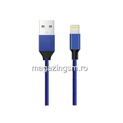 Cablu Date Si Incarcare iPhone 5 5c 5s 6 6 Plus 6s 6s Plus 7 7 Plus 8 8 Plus X XS XS Max XR Textil Albastru