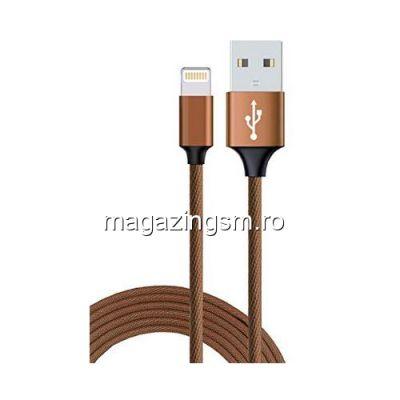 Cablu Date Si Incarcare iPhone 5 5c 5s 6 6 Plus 6s 6s Plus 7 7 Plus 8 8 Plus X XS XS Max XR Textil Maro