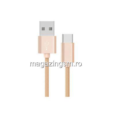 Cablu Date Si Incarcare USB Type C Samsung Huawei Allview Textil Auriu