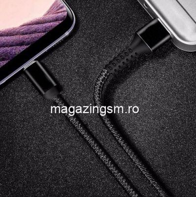 Cablu Date Si Incarcare USB Type C Samsung Huawei Allview Textil Negru