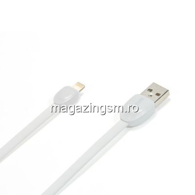 Cablu Lightning 8 Pin USB Data Sync Si Incarcare 1 Metru iPhone X 8 7 6 Plus 5 5c 5s iPad Air iPod Nano Remax Original Alb