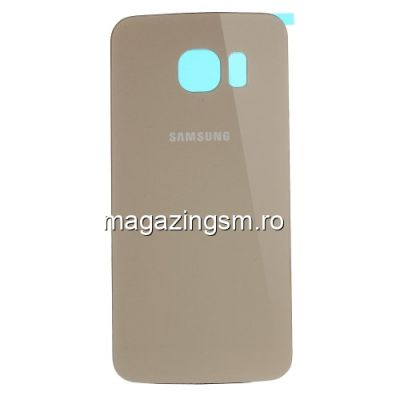 Capac Baterie Spate Samsung Galaxy S6 Edge SM G925 Cu Adeziv Sticker Auriu