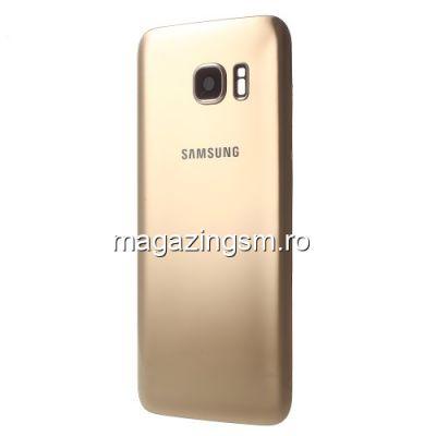 Capac Baterie Spate Samsung Galaxy S7 edge G935 Cu Ornament Camera Si Adeziv Sticker Auriu