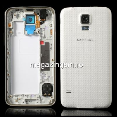 Carcasa Corp Mijloc Samsung Galaxy S5 G900 Cu Capac Baterie Spate Originala Alba