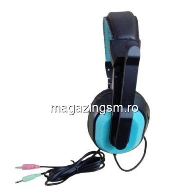 Casti Handsfree Cu Microfon Ajustabile Pentru Gaming Albastre