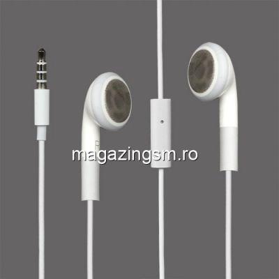 Casti Handsfree Cu Telecomanda Si Microfon iPhone 4S 4 3GS 3G Alb