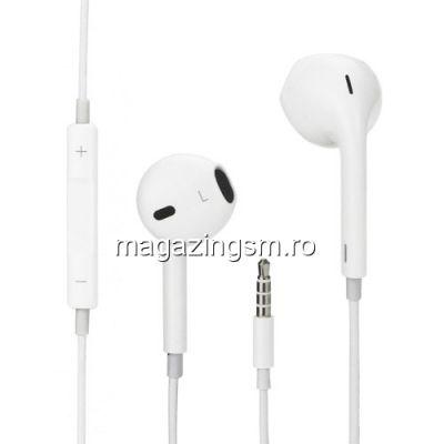 Casti Handsfree Earpods Cu Telecomanda Si Microfon iPhone 5 5S 6 6 Plus 6s 6s Plus Alb