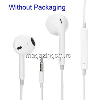Casti Handsfree iPhone 3 4 4s 5 5s 5c 6 6 Plus iPod iPad Albe
