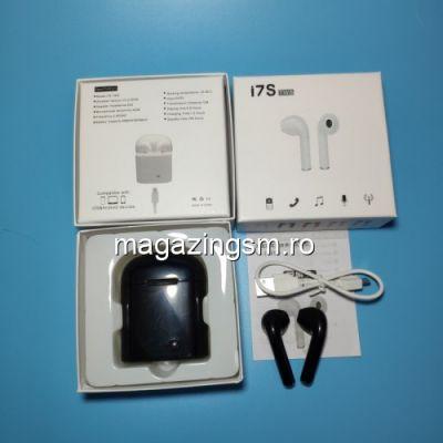 Casti Wireless Bluetooth cu Carcasa Incarcare Samsung iPhone Huawei LG Negre