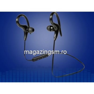 Casti Wireless Bluetooth Cu Microfon iPhone Samsung Huawei Sport Negre