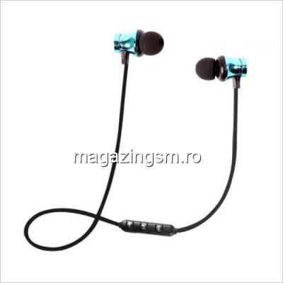 Casti Wireless Bluetooth iPhone Samsung Huawei Magnetice Albastre