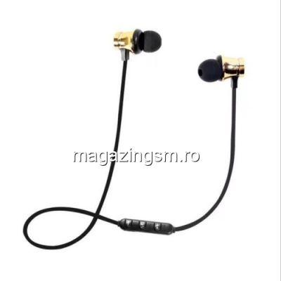 Casti Wireless Bluetooth iPhone Samsung Huawei Magnetice Aurii