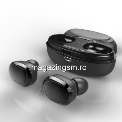 Casti Wireless Bluetooth Mini Samsung iPhone Huawei LG cu Carcasa Incarcare Negre