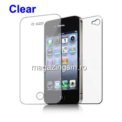 Folie Protectie Display iPhone 4 4s 2 in 1 Clear Protector
