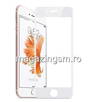 Geam Folie Sticla Protectie Display iPhone 6 Acoperire Completa Alb 6D