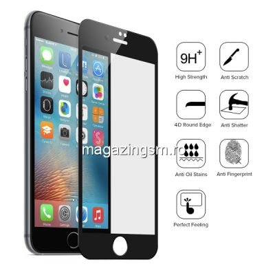Geam Folie Sticla Protectie Display iPhone 7 4D Negru