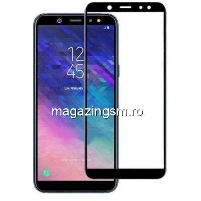 Geam Folie Sticla Protectie Display Samsung Galaxy A6 Plus 2018 Acoperire Completa Negru 4D