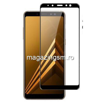 Geam Folie Sticla Protectie Display Samsung Galaxy A8 Plus A730 2018 Acoperire Completa Negru 4D