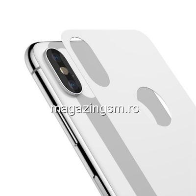 Geam Protectie Capac Baterie Spate iPhone X Xs Acoperire Completa Alb