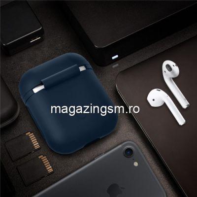 Husa Casti Handsfree Apple AirPods iPhone 7 Albastru Inchis