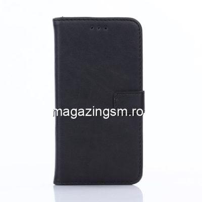 Husa Flip Cu Stand Asus Zenfone Go ZB500KL Retro Style Neagra