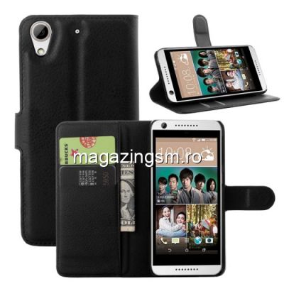 Husa Flip Cu Stand HTC Desire 650 Neagra
