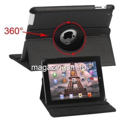 Husa Flip Cu Stand iPad 4 Piele PU Si Rotatie 360 Grade Neagra