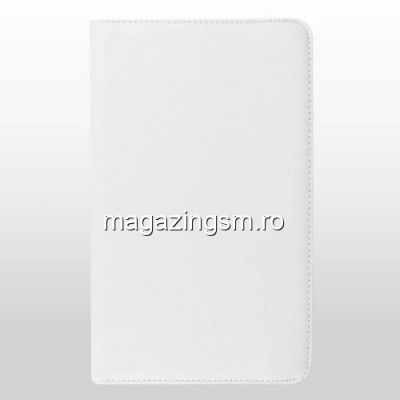 Husa Flip Cu Stand Samsung Galaxy Tab E 9,6 T560 T561 Si Rotatie 360 Grade Alba