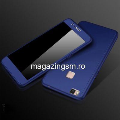 Husa Huawei P9 Lite Acoperire Completa 360 De Grade Cu Geam Protectie Display Matuita Albastra