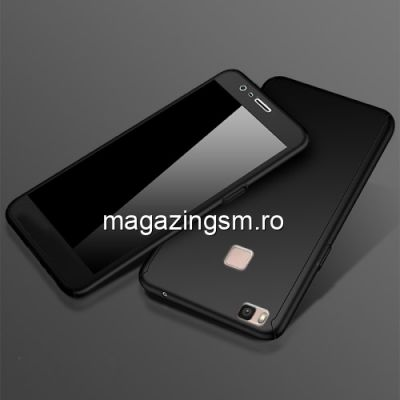 Husa Huawei P9 Lite Acoperire Completa 360 De Grade Cu Geam Protectie Display Matuita Neagra