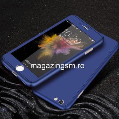 Husa iPhone 7 / 8 Acoperire Completa 360 De Grade Cu Geam Protectie Display Matuita Albastra