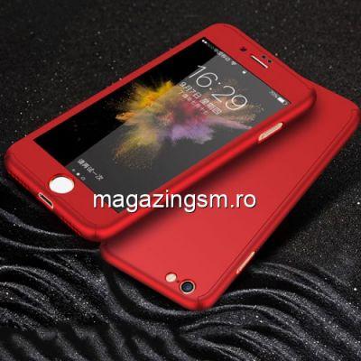 Husa iPhone 7 / 8 Acoperire Completa 360 De Grade Cu Geam Protectie Display Matuita Rosie
