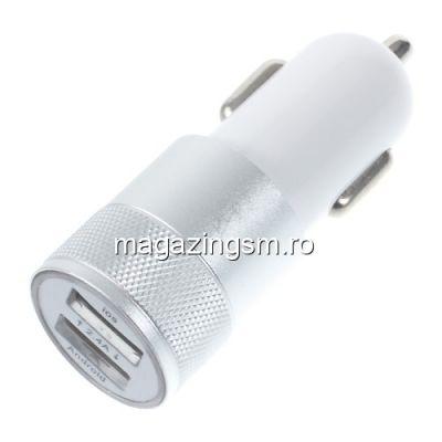 Incarcator Auto Samsung iPhone Universal Dual Port USB Argintiu