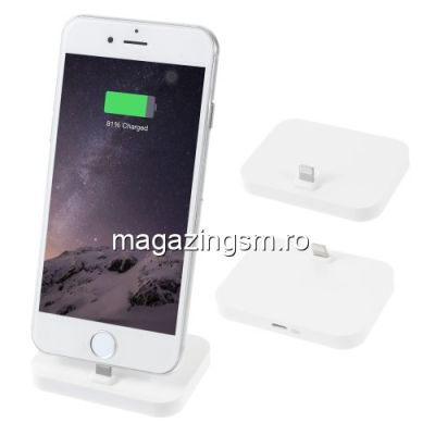 Incarcator Tip Suport Dock Lightning iPhone 5 5c 5s 6 6 Plus 6s 6s Plus 7 7 Plus 8 8 Plus X Alb