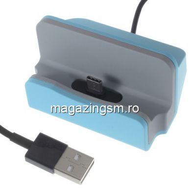 Incarcator Tip Suport Dock USB Type C Samsung Huawei Allview LG Albastru