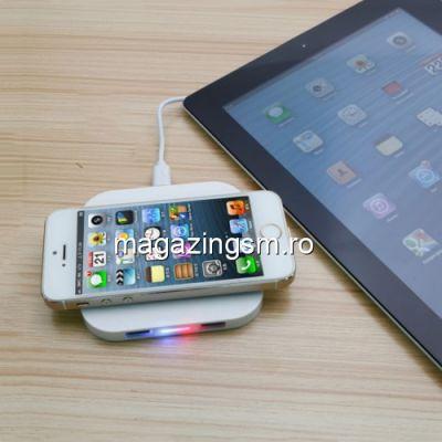 Incarcator Wireless Samsung Galaxy S8/ iPhone 8 Dual USB Alb