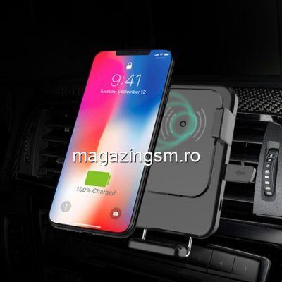 Incarcator Wireless Suport Auto iPhone Samsung Rotatie 360 De Grade Pentru Ventilatie Negru