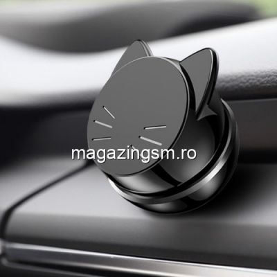 Suport Auto iPhone Samsung Huawei Universal Rotativ Magnetic Model Pisica Neagra