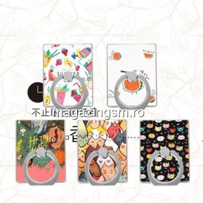 Suport Telefon iPhone Samsung Huawei Nokia Stand Finger Grip Colorat Cartoon